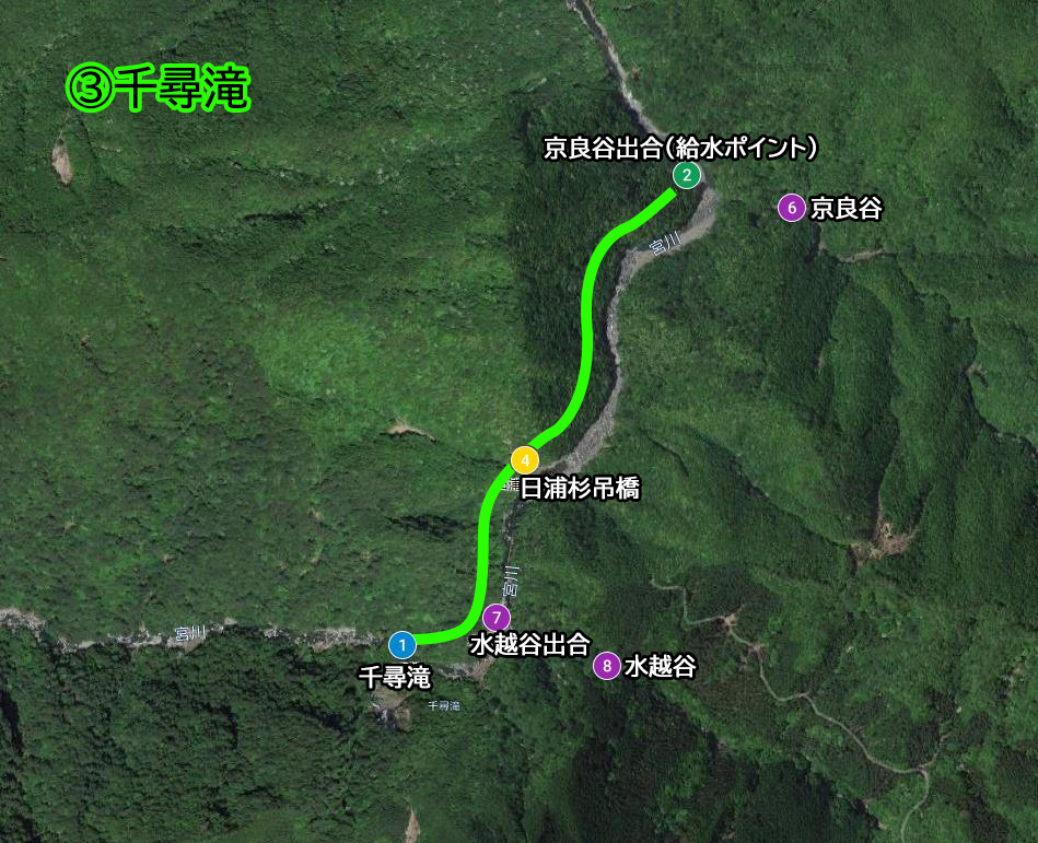 映像トレッキング3ルート(京良谷出合から千尋滝)