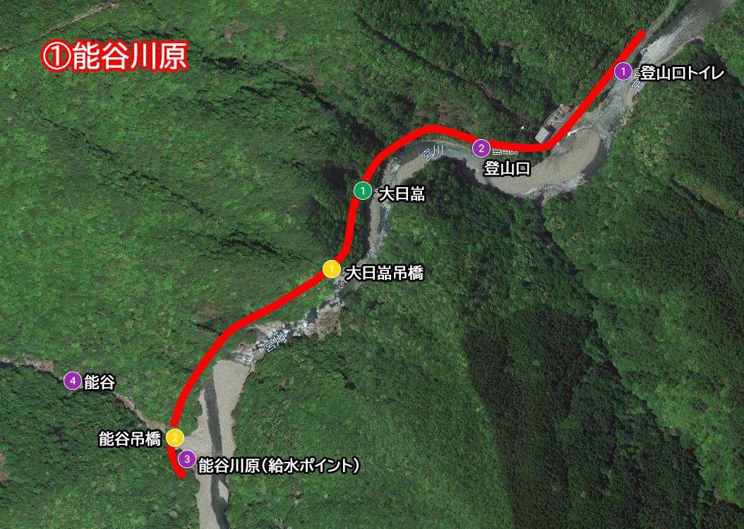 映像トレッキング1ルート(登山口出発→大日嵓経由、能谷川原まで)